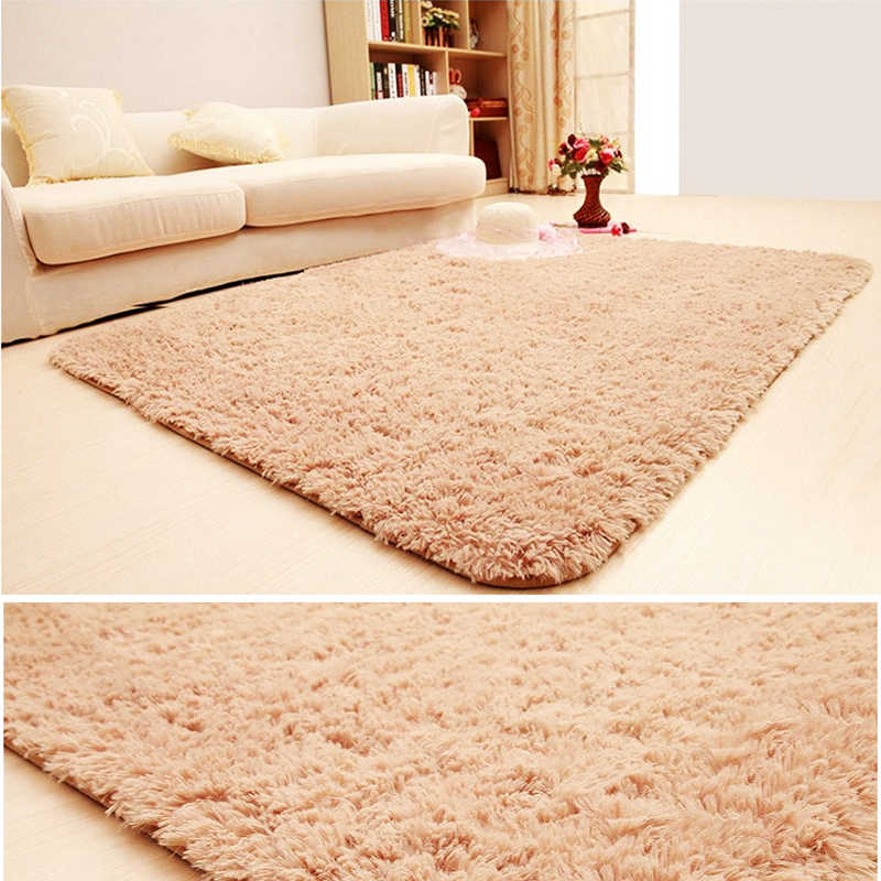 160*200cm Thickened silk hair non-slip carpet living room coffee table blanket Bedroom bedside mat yoga rugs solid color plush