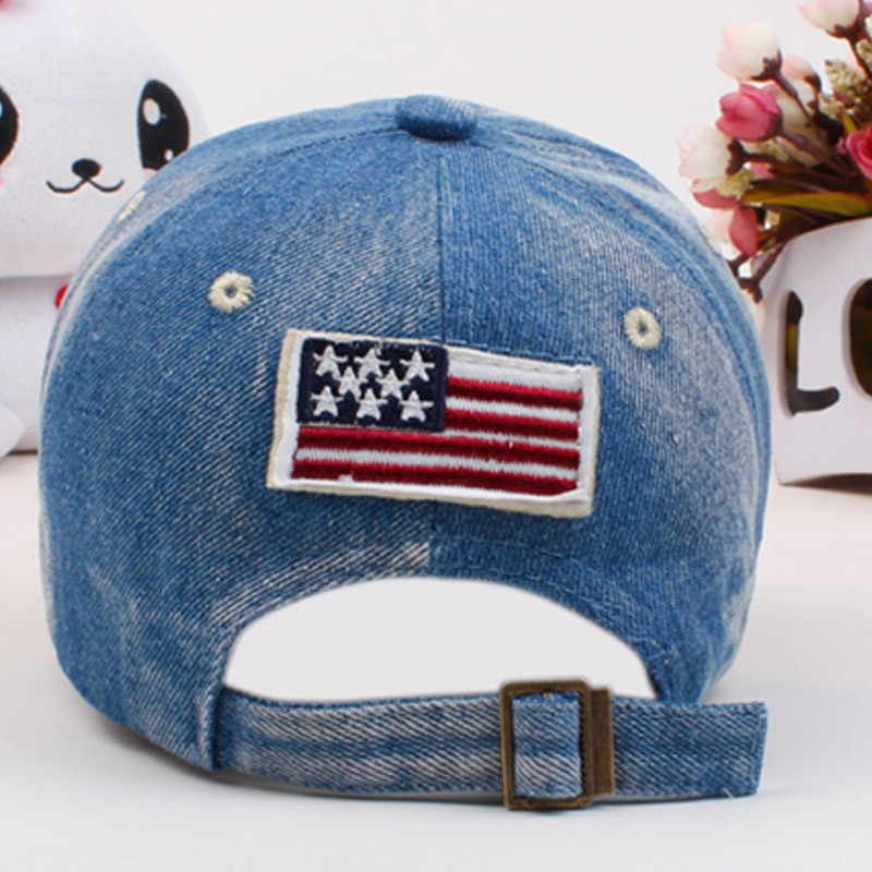 "Red, White and Blue Embroidered ""Boy"" Child's Baseball Cap - Rear View"