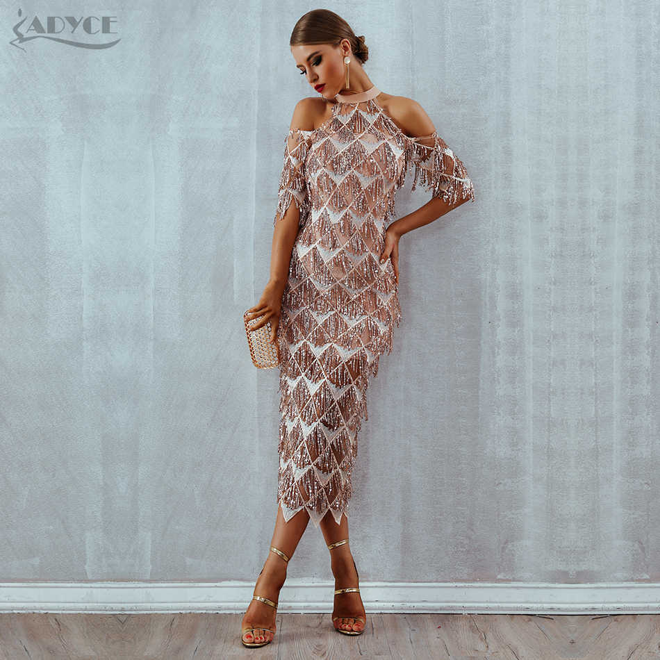 Adyce Elegant Sequined Evening Party Dress Vestidos 2019 New Mesh Runway Club Dress Sexy Night Club Tassels Woman Fringe Dresses