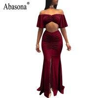 Abasona Women Long Maxi Dress Sexy High Split Evening Party Dresses Elegant Ladies Two Piece Pleated