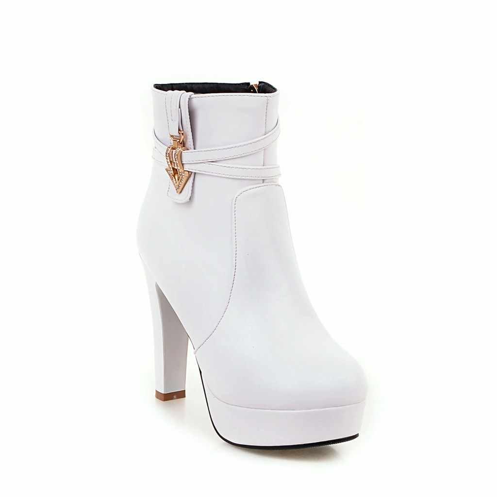 2018 NIEUWE Mode Vrouwen Laarzen Wees Zapatos Mujer PU Lederen Korte Buis Pomp Laarzen Hoge Hakken Hot Koop Vrouwen Schoenen
