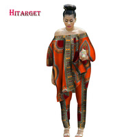 2017 African Women 2 Piece Set Dashiki Cotton Print Wax Crop Top and Skirt Set Good Sewing African Women Suits Clothes WY1513