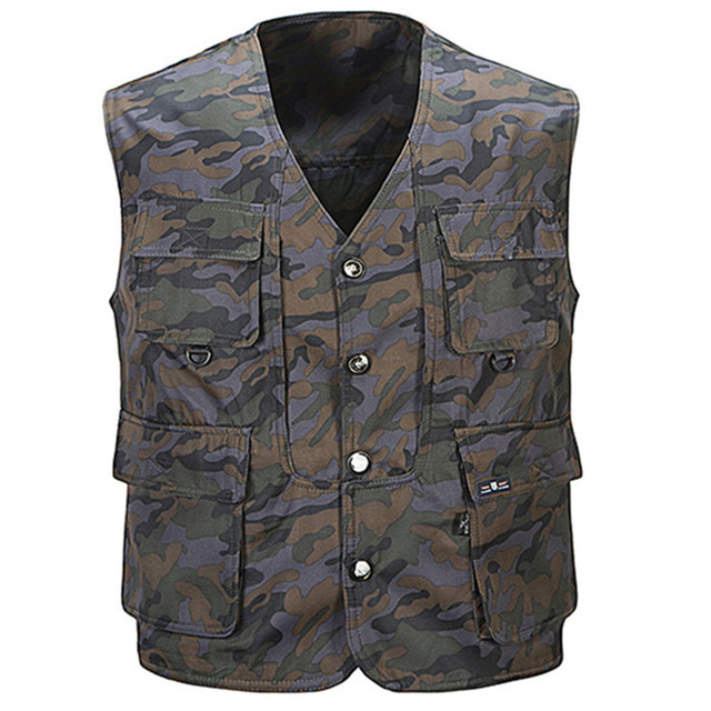 Tactical Multi Pocket Camouflage Vest Men Casual Travel Waistcoat Cotton Fish Sleeveless Jacket Camo Shooting Vests