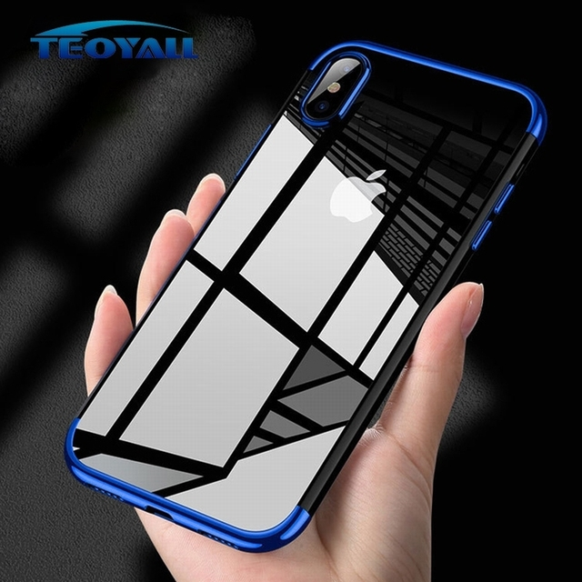 TeoYall Plating Cases for iPhone 7 8 X Case Flip Cover for iPhone 6 6s Plus 7 8 Plus Covers Silicone Fundas Soft TPU Protector