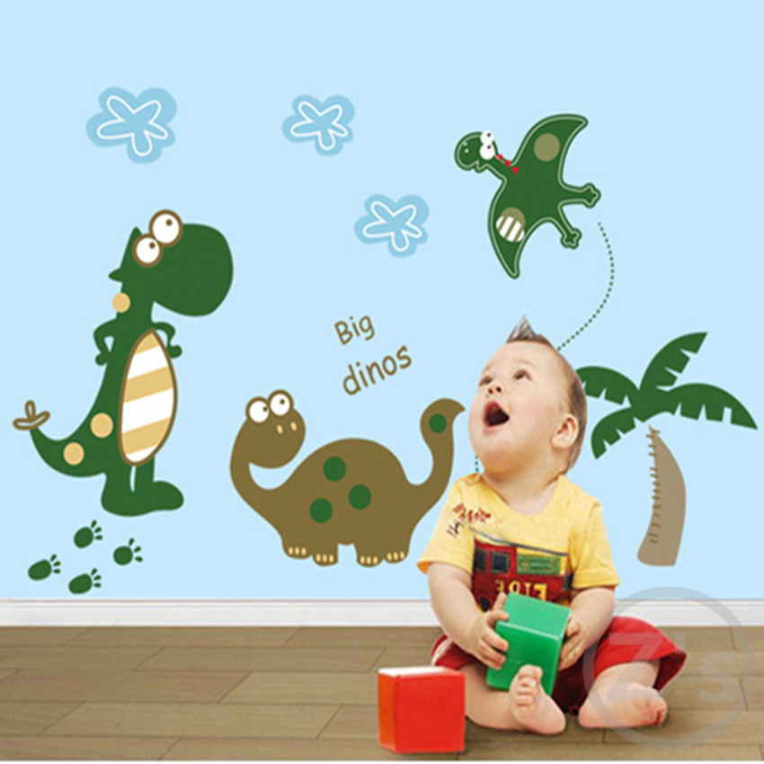 Popular Dinosaur Wall Stickers Decals For Kids RoomsBuy Cheap - 3d dinosaur wall decalsd cartoon dinosaur wall stickers art decal mural home room