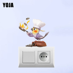 YOJA Coolest Colored Parrot Cooking Creative Switch Wall Stickers Room Bedroom Personalized Decor 10SS0097