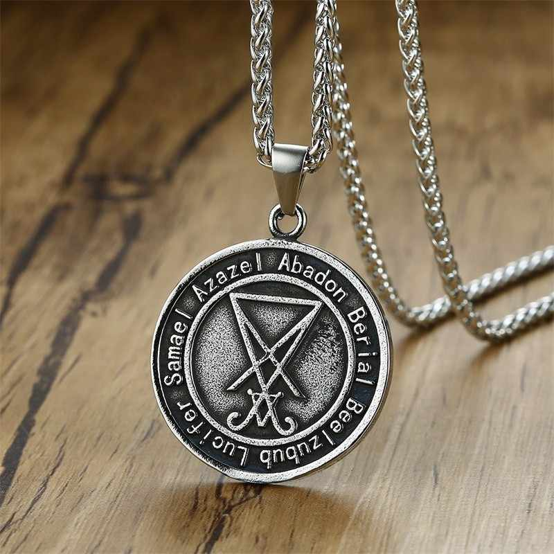 Vantage Men's Stainless Steel Necklace Sigil Lucifer Satan Pendant Satanic System Emblem Amulet Charm Sign Medallion