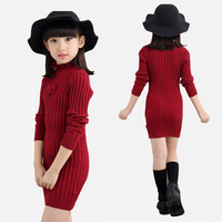 2018 New Spring Sweater Dress For Girls Stripe Long Style Girls Sweaters Solid Turtleneck Fashion Slim