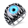 Stainless Steel Rock Gothic Talon Eye Opal Inlay Prong Setting Men Lady Unisex Ring Jewelry Size 7-10