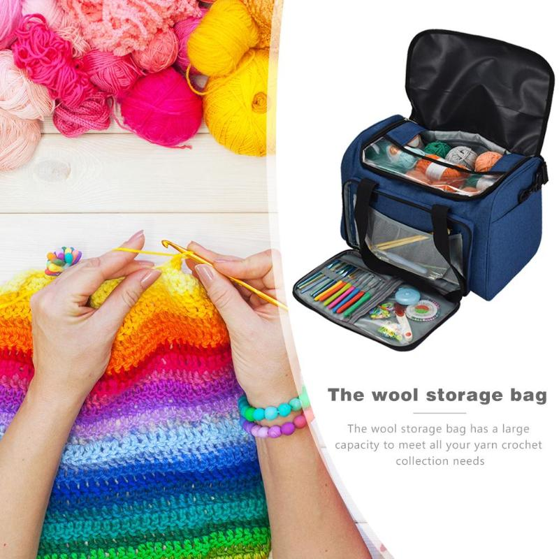 Knitting Yarn Bag Wool Storage Bag For Threads Crochet Hook Storage Organizer Bags Household Sewing Tools Holder in DIY Apparel Needlework Storage from Home Garden