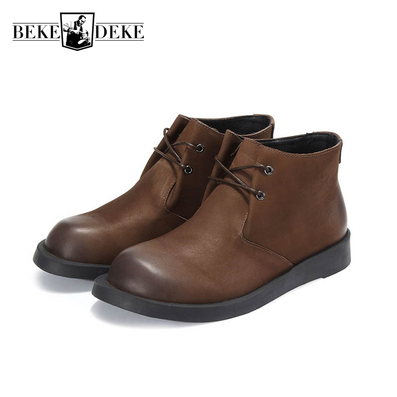 Retro Punk Style Winter New Fashion Warm Shoes Mens Genuine Leather Cow Round Toe Lace Up Ankle Boots Male Boots Flat Fur Lining y s 2016 new mens casual desert boots mans genuine leather flat shoes adults round toe ankle chukka adults quilted boots y 100