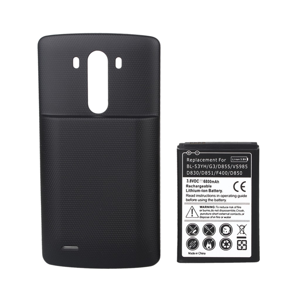 imágenes para 6800 mah Batería Recargable Batería de Reemplazo Con El Caso de La Cubierta Negro Para LG G3 D850 D830 D851 VS985 D855 F400 Alta capacidad