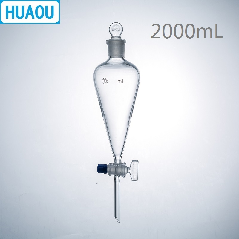 HUAOU 2000mL Seperatory Funnel Pear Shape with Ground in Glass Stopper and Stopcock Laboratory Chemistry Equipment huaou 500ml gas generator kipps apparatus with safe funnel stopcock rubber stopper laboratory chemistry equipment