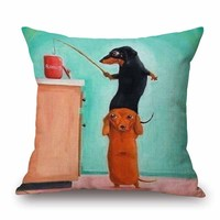 Dachshund Cushion Cover 45X45cm Happy Birthday Sausage Dog Pillow Cases Christmas Festival Kids Gift Bedroom Sofa
