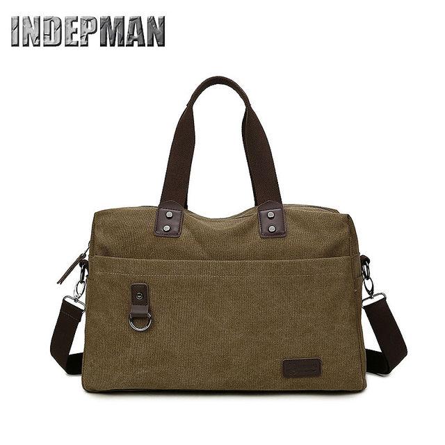 Hot Sale 2016 Vintage Canvas Pu Handbag Solid Large Capacity Retro Shoulder Bag for Men Teenager Escolar Purse Men Casual Tote