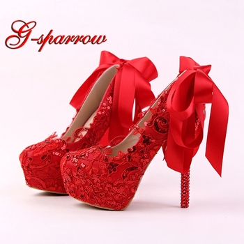 Handmade Red Lace Bride Shoes Fashion Glitter Stiletto Heel Wedding Dress Shoes with Ribbon Bow and Rhinestone Heel Women Pumps
