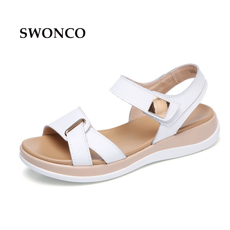 SWONCO Women's Sandals 2018 Summer Genuine Leather Beach Casual Shoes Sandals Woman Platform Summer Leather 3.5cm Low Heel Shoes new women sandals low heel wedges summer casual single shoes woman sandal fashion soft sandals free shipping