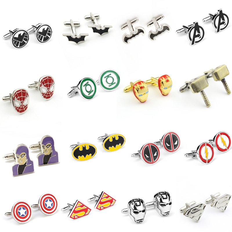 Marvel The Avengers Captain America Cufflinks Thor Hammer Iron Man Superhero Batman Charms Cufflinks For Men Fashion Jewelry