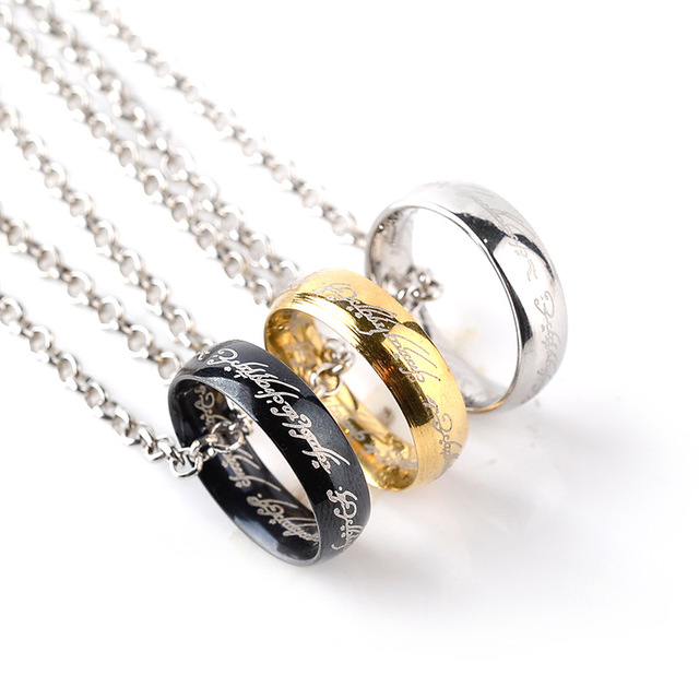 Wholesale high quality silver gold black movie ring pendant necklace wholesale high quality silver gold black movie ring pendant necklace trendy the lord rings the hobbit aloadofball Choice Image