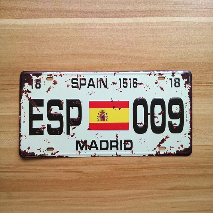 UA-CP-0071 Vintage metal tin signs License Number  ESP-009 madrid spain  painting plaque Bar home decor 30*15 CM