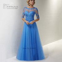 Plus Size Mother of the Bride Dresses Half Sleeve Lace Godmother Dress Long Women Evening Gowns for Mother Vestidos Madrina Boda