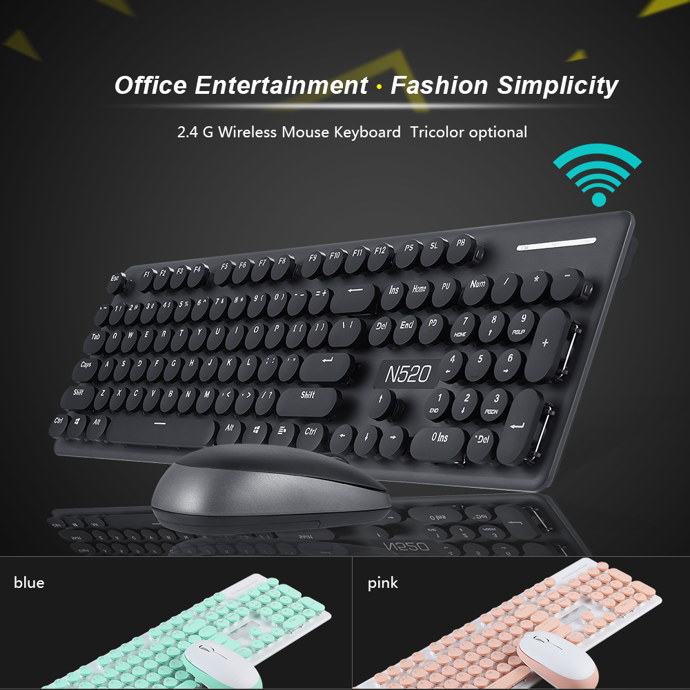 Hot Sale 24g Wireless Keyboard Mouse Combo Recreation Office Mousepad L200 Mechanical Hand Feeling Retro Round Button Mute For Desktop Pc Laptop