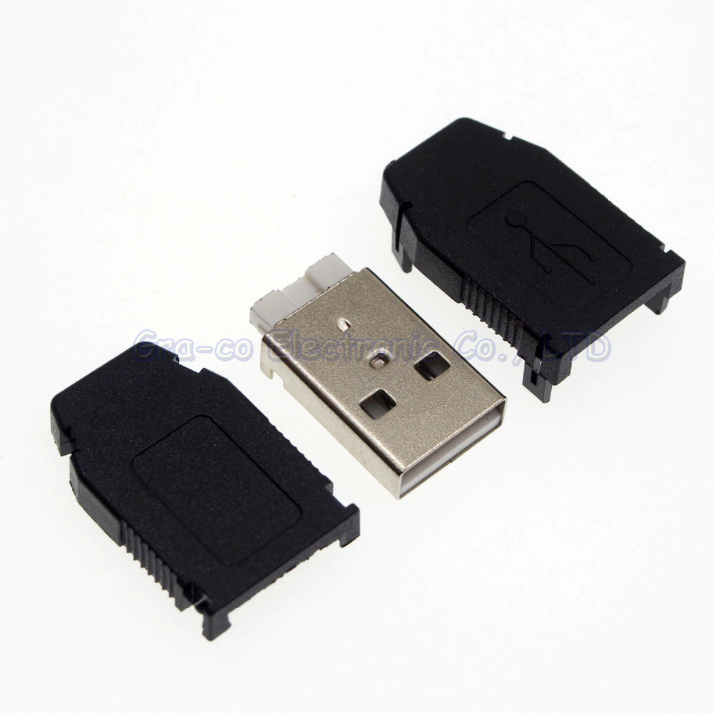200 компл. <font><b>3</b></font> в 1 <font><b>USB</b></font> штекер с пластиковым корпусом 4 P тип для зарядное устройство ремонт и т. д.