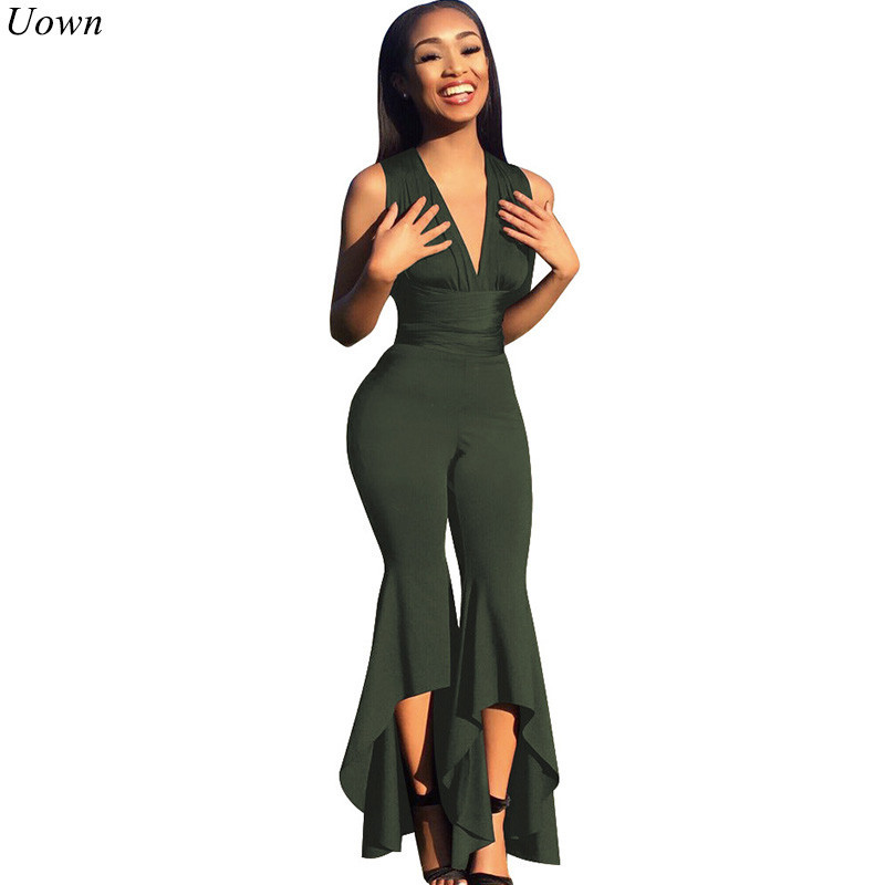 Uown Sexy Cross Back Skinny Bandage Jumpsuits for Women Sleeveless V Neck Flared Pants Overalls Slim