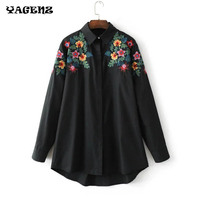 Spring Floral Embroidered Blouses Woman Fashion Shirt Ladies Office Work Ethnic Flower Shirt Black White Loose