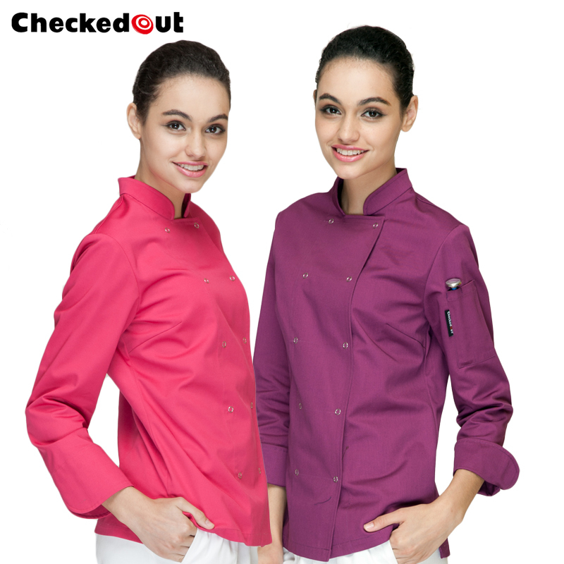 New Hot Sale Hotel/kitchen Uniform Long Sleeved Working Chef Vest  Women Design Restaurant Tops Multi Color Free Shipping