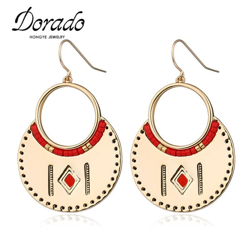 Dorado Fashionable Gold Silver Color Colorful Rhinestone Drop Earrings Big Statement Earrings for Women Brincos Grandes ...