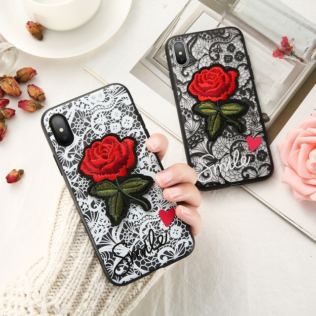huge selection of e39d1 2e0b9 US $4.27 |For iPhone X Flower Cases Romantic Lace Printed Embroidery Rose  Hard Case For iPhone 7 8 6 6S Plus 5 5S SE Fashion Women Cover-in Fitted ...