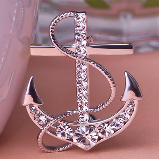 Superior Blucome Statement Anchor Brooch For Men Jewelry Shiny Austrian Crystal  Broches Accessoris Hijab Pins Menu0027s Punk