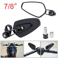 Universal 2PCS 7 8 Aluminum Motorcycle Rearview Mirrors Black Billet Bar Side Mirrors