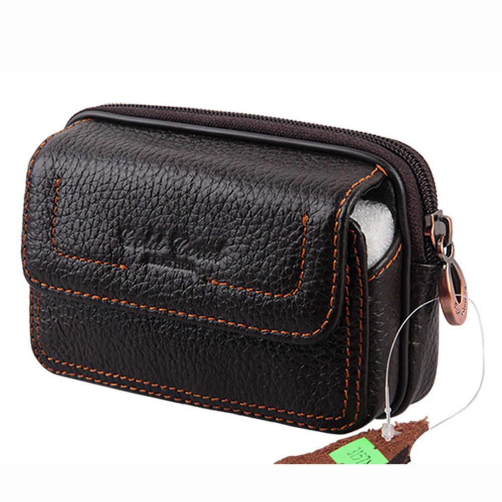 新メンズ本革リアル牛革携帯携帯電話ケースカバーポケットコイン財布ベルトヒップファニーバッグウエストパックパック父ギフト