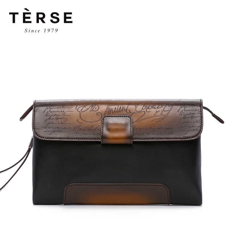 59da9ac73116 TERSE для мужчин's клатчи сумки пояса из натуральной кожи Винтаж лоскутное  клатчи для мужчин большой ёмкость
