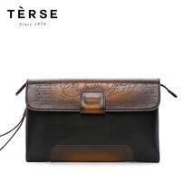 TERSE для мужчин's клатчи сумки пояса из натуральной кожи Винтаж лоскутное клатчи для мужчин большой ёмкость с гравировкой MN9722 1
