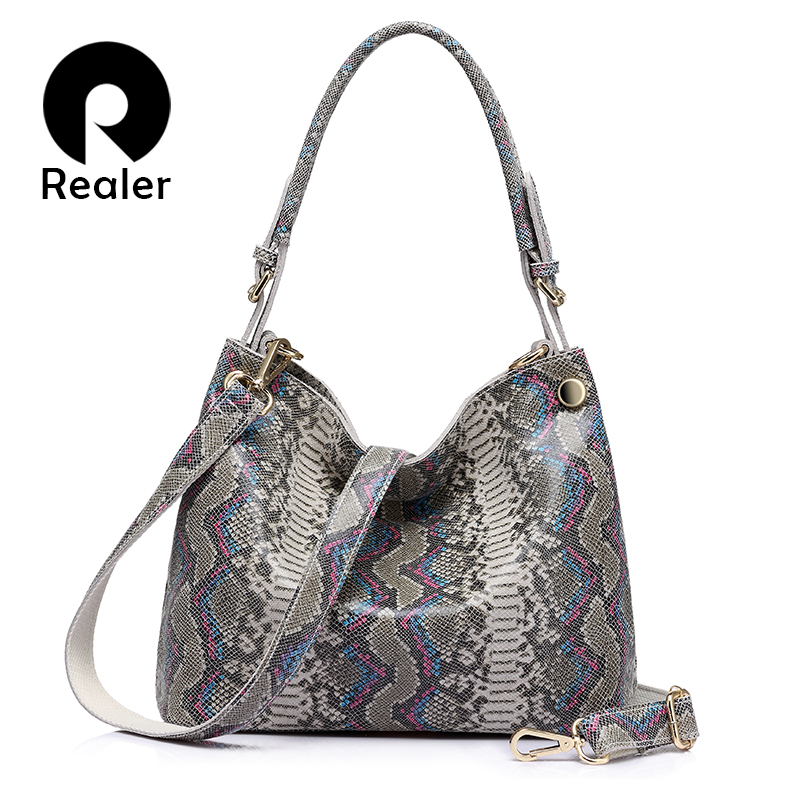 REALER brand genuine leather handbags women serpentine prints large shoulder bag classic top-handle bag female crossbody bags
