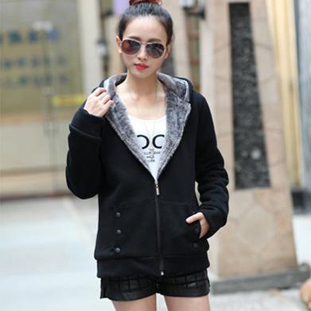 Fashion Hoodies Sweatshirts Fleece Coat 2017 Autumn Winter Women Zipper Design Casual Long Sleeve Hooded Outerwear Plus Size 2XL