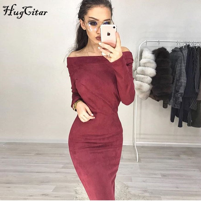 Suede Long Sleeve off shoulder Women mid-calf Dress Autumn Winter Female sexy Bodycon new year party Dresses 1