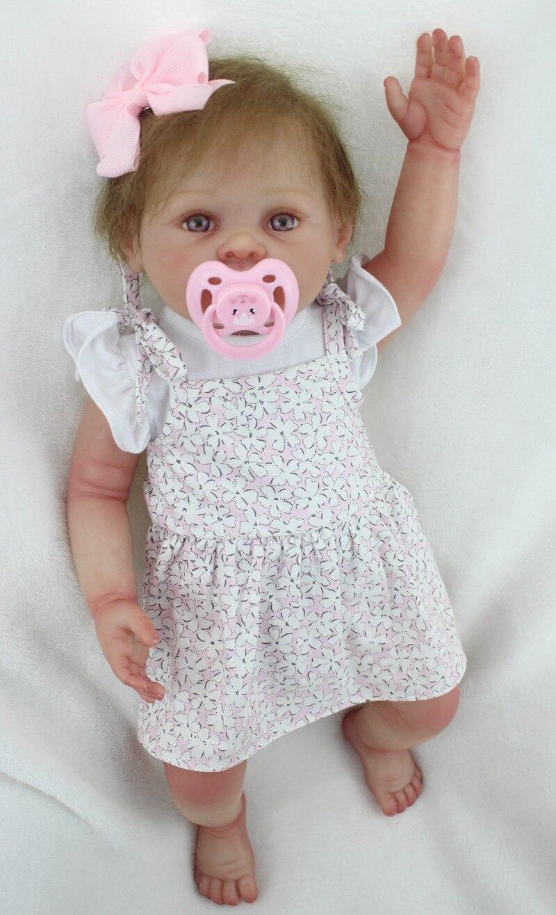 20 pouces corps complet Silicone enfant en bas âge vinyle Reborn bébé fille poupée nouveau-né réaliste fait main jouet cadeau avec tissu peut être laver - 2