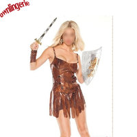 Halloween Women Brown Faux Leather Sexy Tassels Savage Forest Hunters Indian Natives Cosplay Costumes