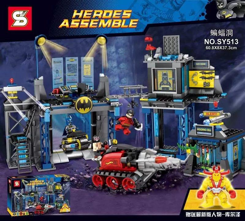 ФОТО SY513 689pcs Captain America Batman The Batcave Block Set Winter Soldier Building Blocks Toys Compatible with Lepin BatCave