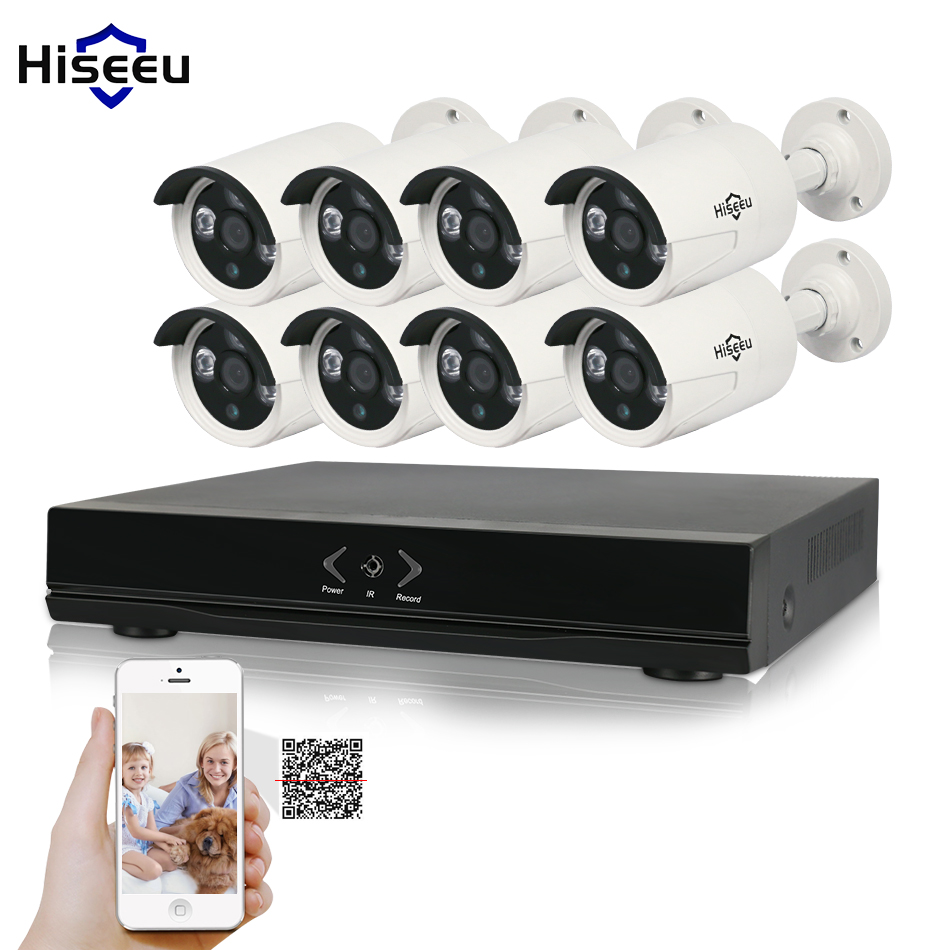 Hiseeu 8CH 1080P HD NVR Kit POE CCTV System 8PCS cameras 2.0MP Outdoor IP Camera Waterproof P2P Onvif Security Surveillance set 8ch nvr kit 720p 3 6mm waterproof outdoor onvif ir ip camera 1 0mp and 8ch 1080p 720p nvr for cctv security system free shipping