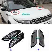 цена на For Land Rover Range Rover Evoque Sport Discovery 3 4 LR4 Freelander 2 Black Hood Air Vent Outlet Wing cover Trim 2010-2017 2pcs