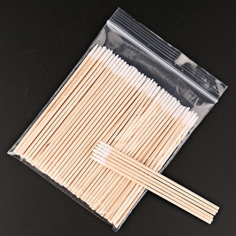300pcs Wood Cotton Swab Eyelash Extension Tools Medical Ear Care Wood Sticks Cosmetic Cotton Swab Cotton Buds Tip
