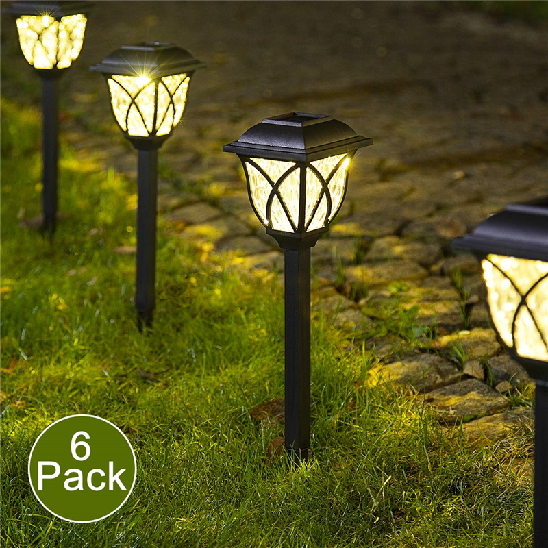 6 Pcs Lawn Lamp Easy Install Durable Yard Decoration Solar Powered Garden Waterproof Black Landscape Light Outdoor LED Bulb