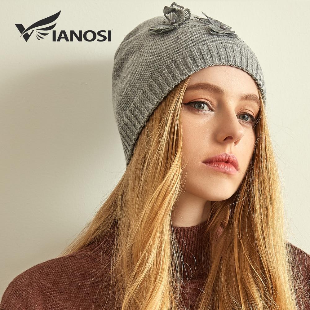 6494aa0c6fd VIANOSI Warm Cashmere Wool Winter Hats for Women Fashion Knit Beanie Cap  Brand Gorros Mujer Invierno