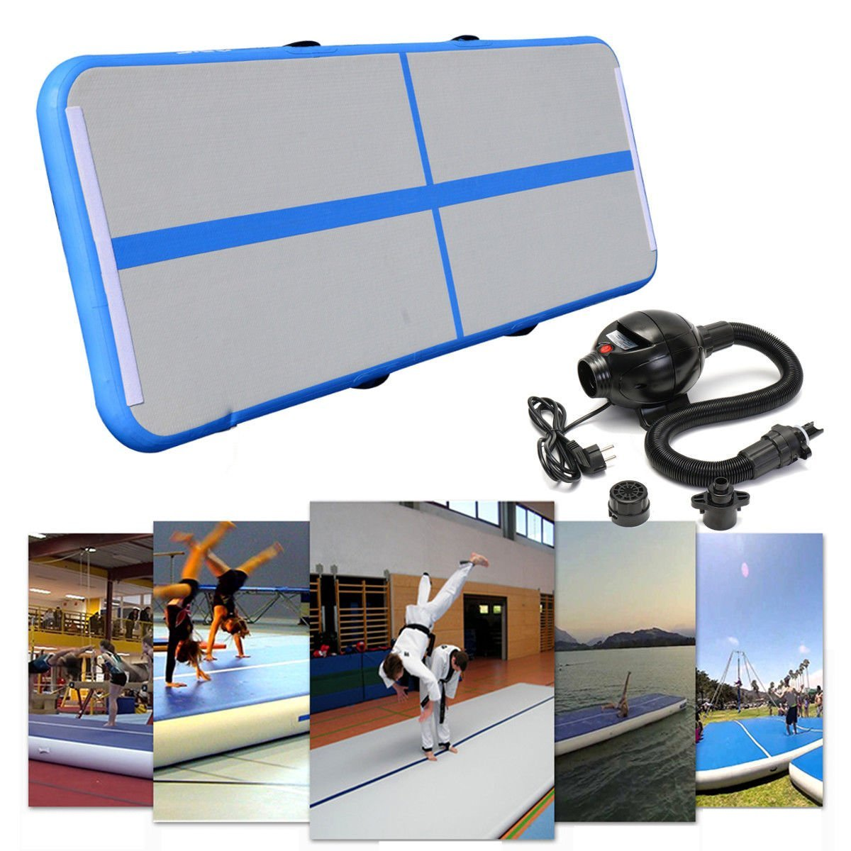 Inflable gimnasia AirTrack cayendo aire Piso 5 m trampolín eléctrico de la bomba de aire para el uso en el hogar/formación/animadoras /playa - 5