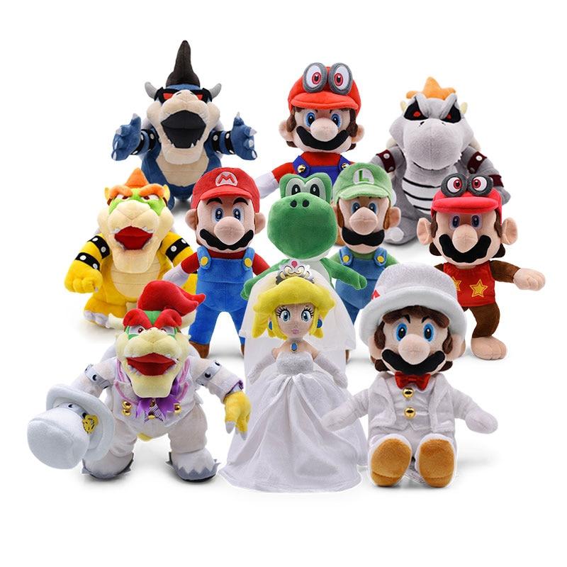 Super Mario Odyssey vestido de novia Luigi Princesa Peach Yoshi Diddy Kong 3D tierra hueso Kuba dragón oscuro Bowser Peluche de Koopa Juguetes